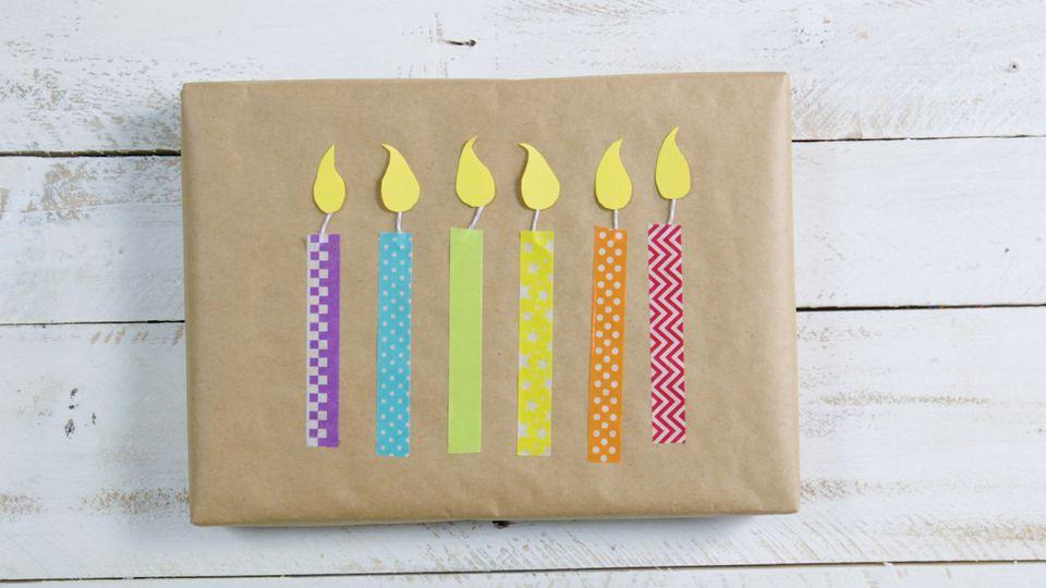 Washi Tape Candle Sticks gift wrap