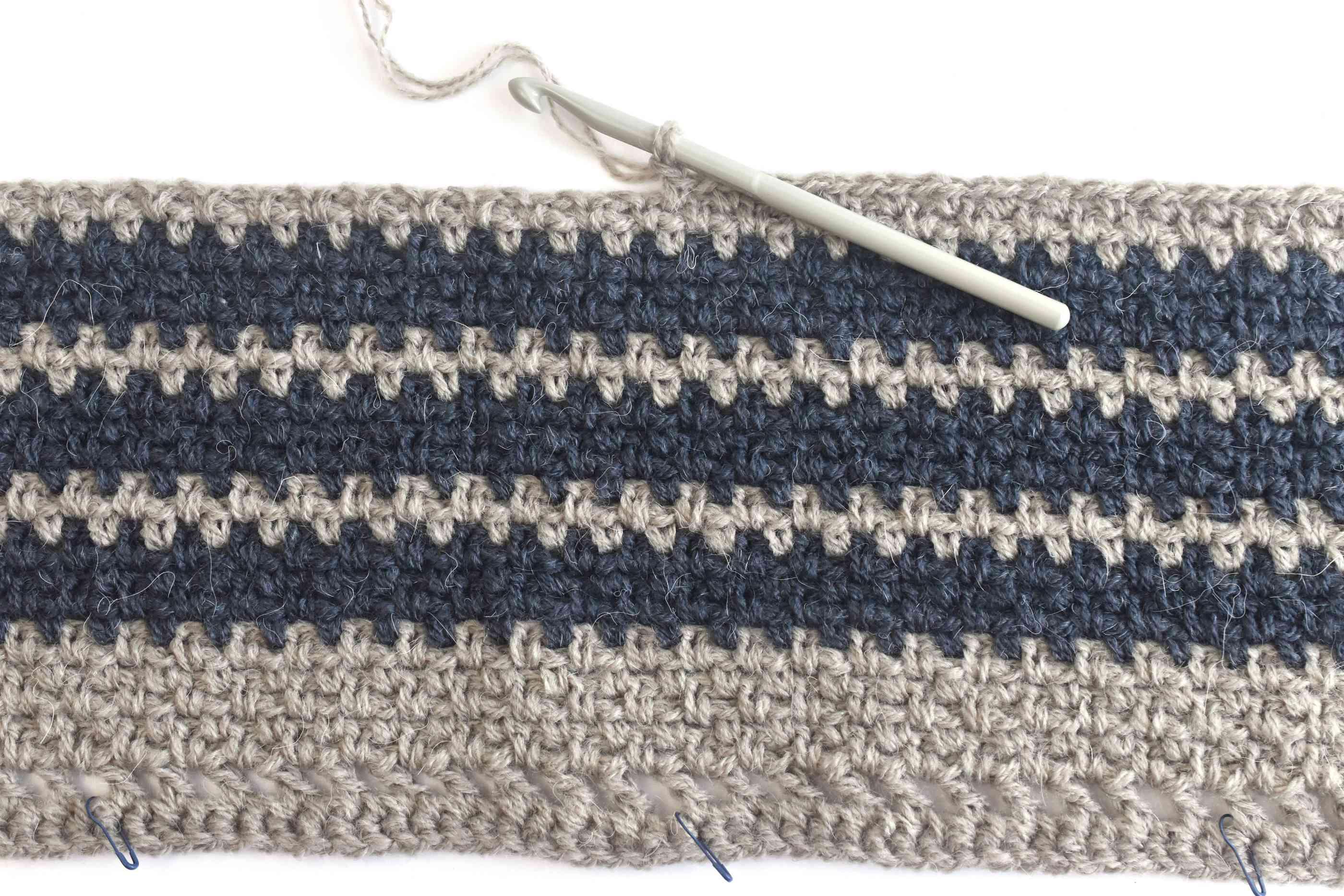 Crochet Rows of Moss Stitch