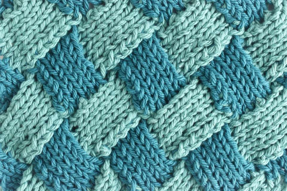 Entrelac Knitting Sample in Two Shades of Teal