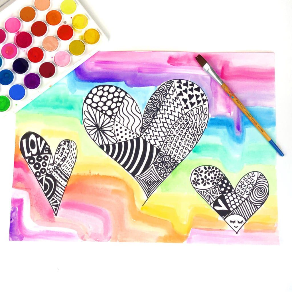 Zentangle hearts on a colorful background
