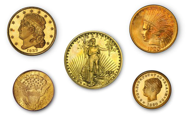 five of the world's most valuable United States gold coins