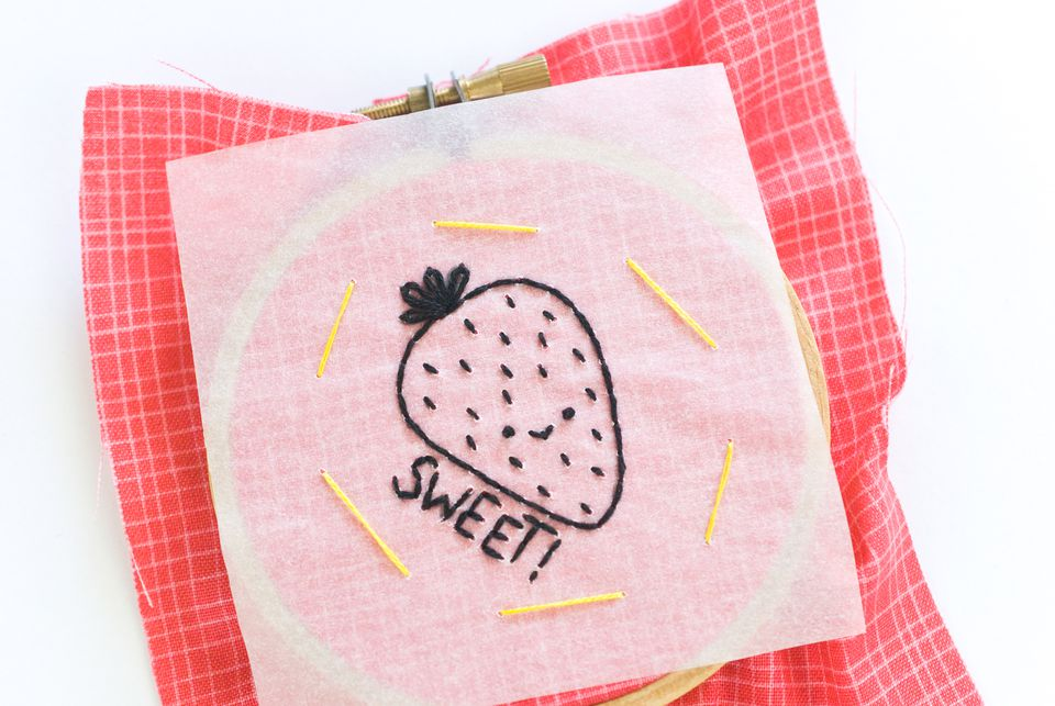 strawberry design on tracing paper for embroidery