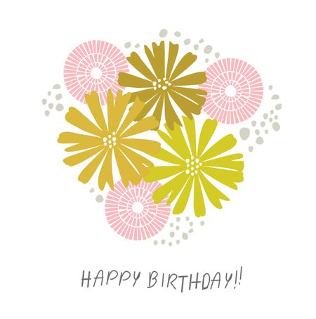 15 free printable birthday cards for everyone a yellow and pink floral birthday card m4hsunfo