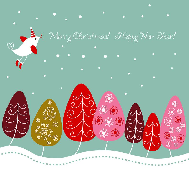 a christmas card with a bird and colorful trees - Christmas Images For Cards