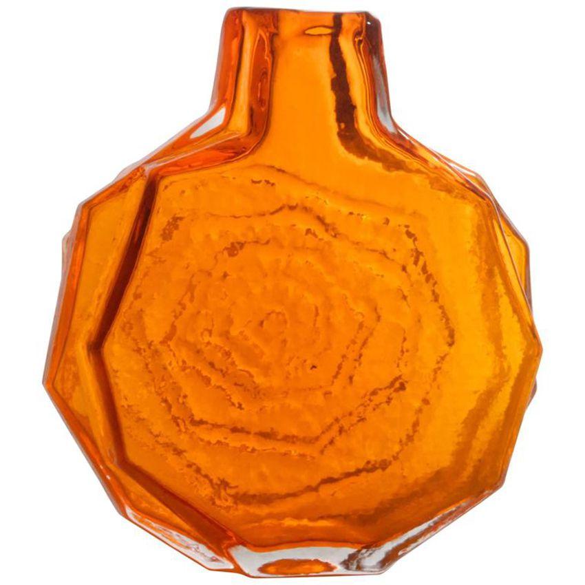 Whitefriars Banjo Vase in Tangerine Color