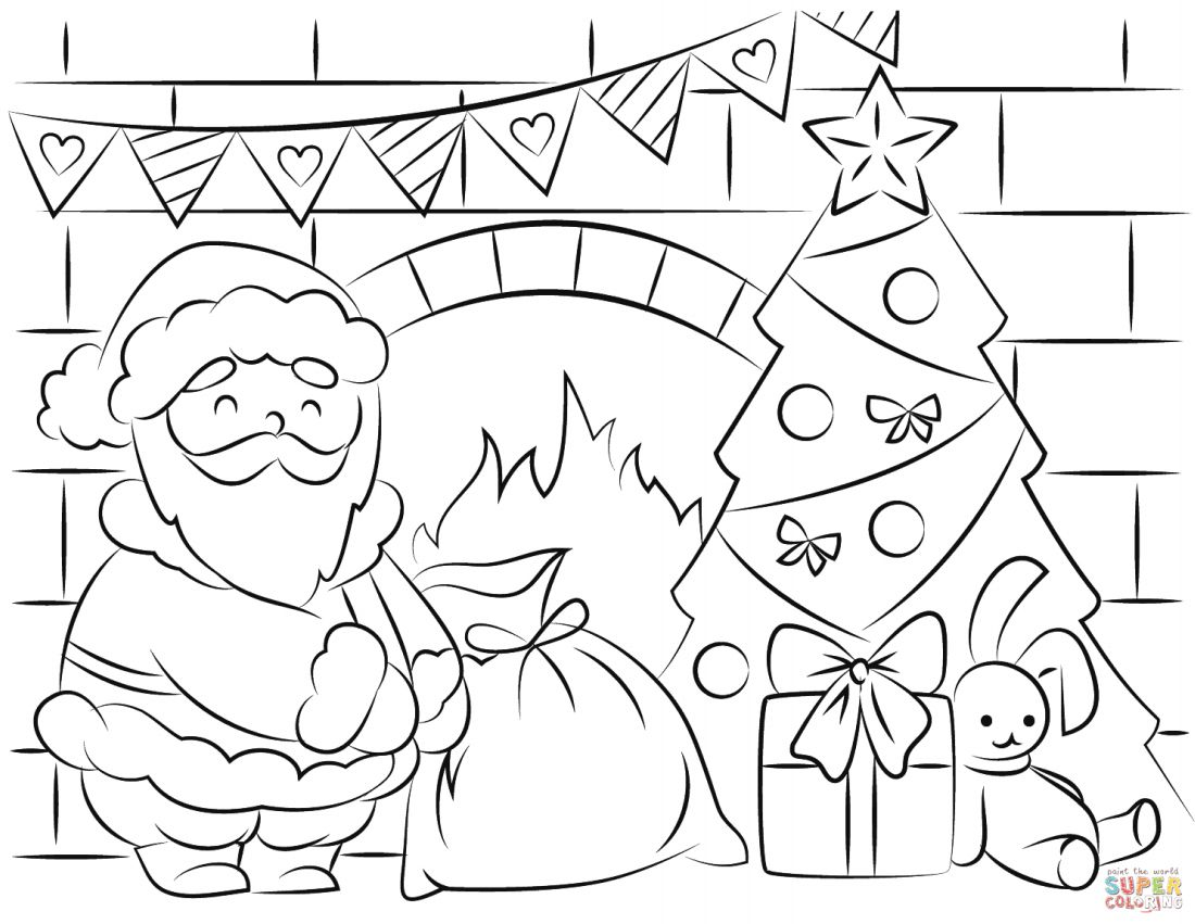 a coloring page with santa delivering gifts