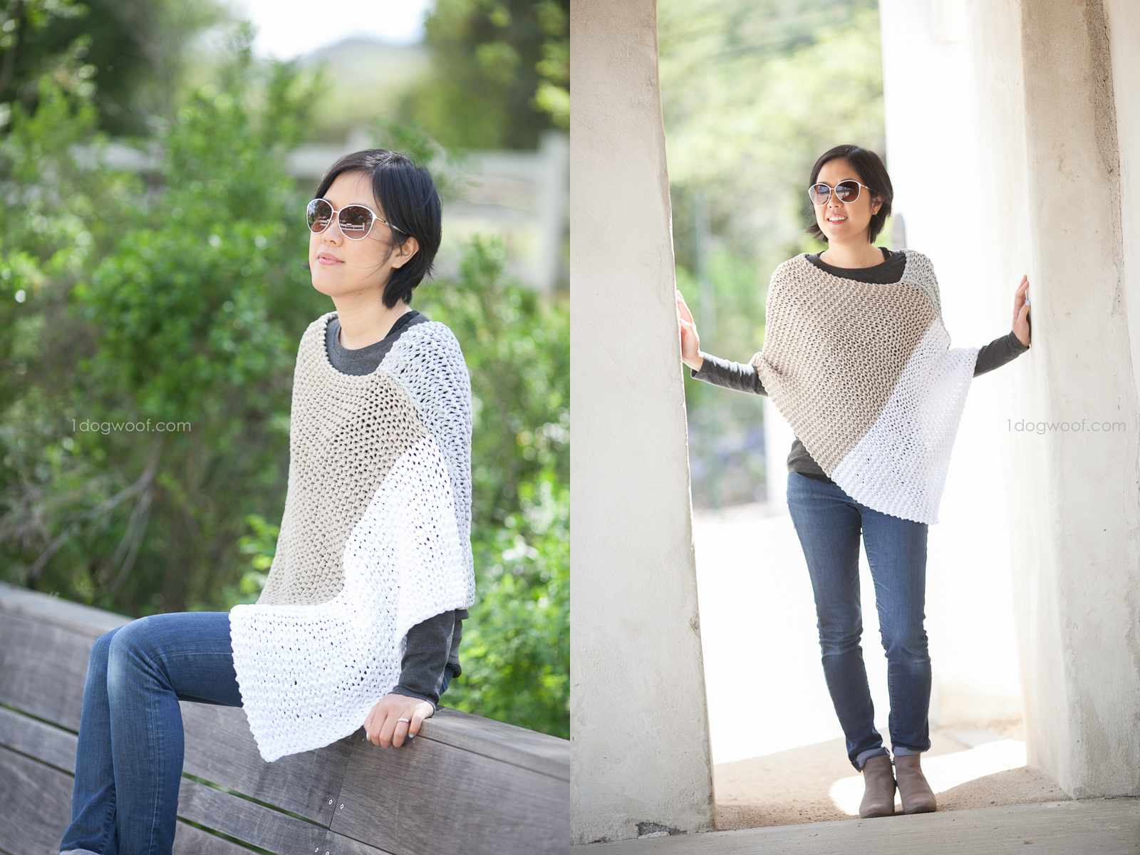 Easy Knit Catalunya Colorblock Poncho Pattern