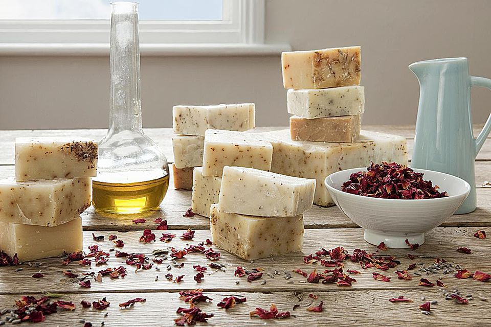 Homemade soaps with ingredients