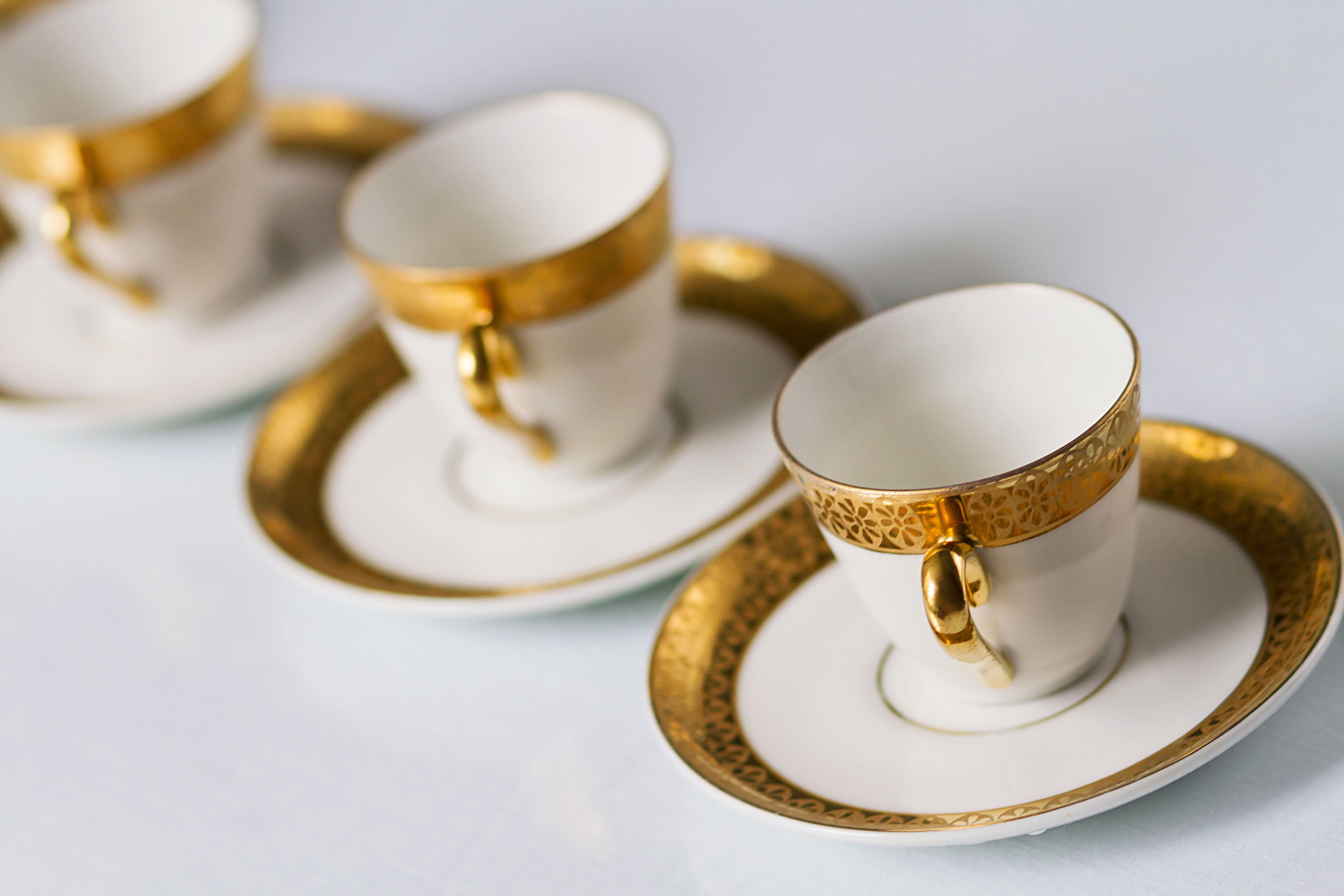 ANTIQUE LIMOGES  GUERIN /& Co FOOTED COFFEE TEA CUP /& SAUCER SET GOLD GILT