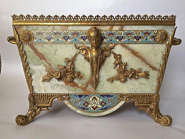 French Champleve Onyx Marble and Bronze Jardiniere on a Stand (Stand Not Shown), c. 19th Century