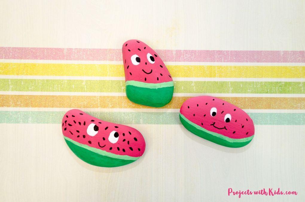 rocks painted to look like watermelons