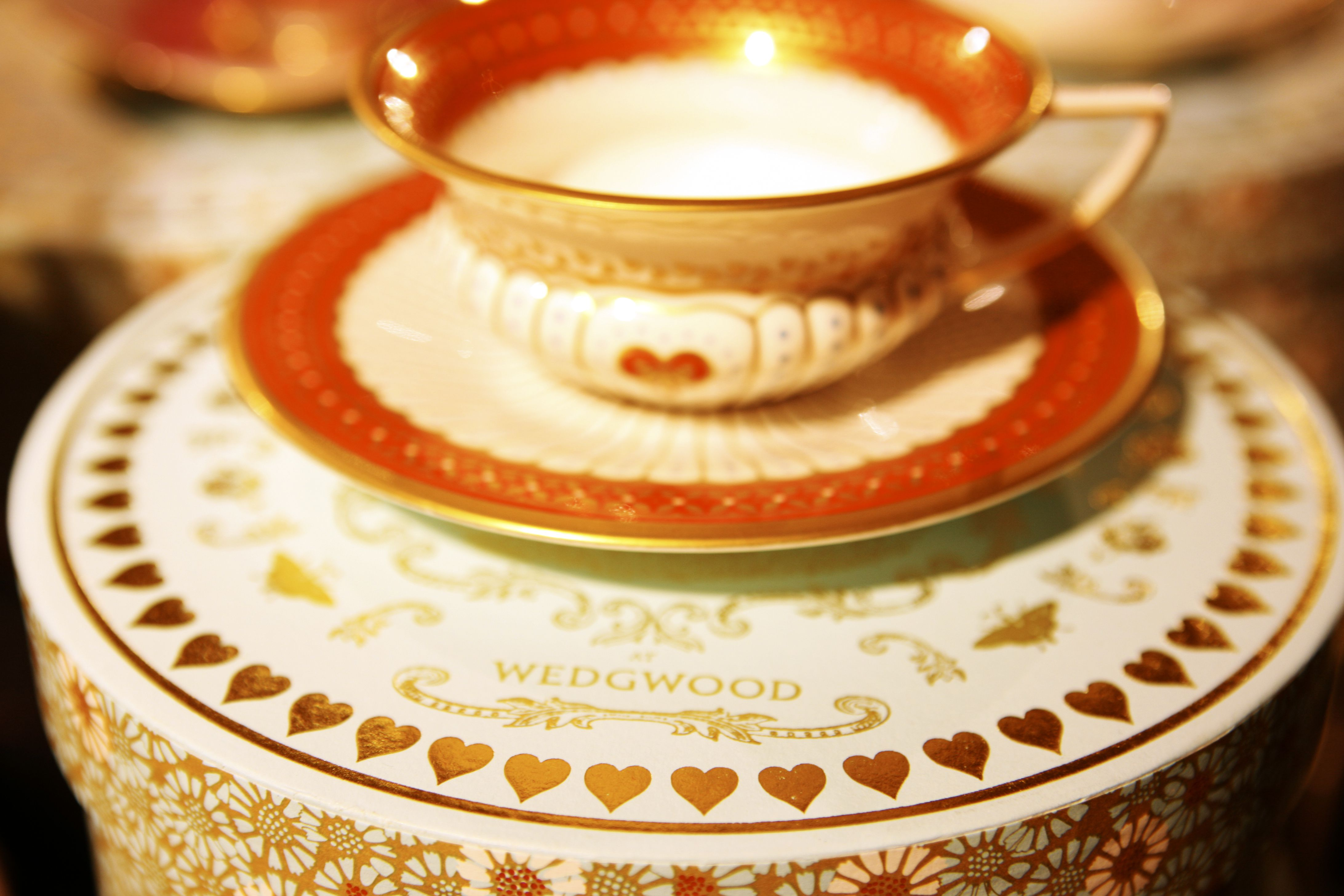 A close up detail of a display of Wedgwood china at the Harrods department store, London., Knightsbridge, London, London, England.