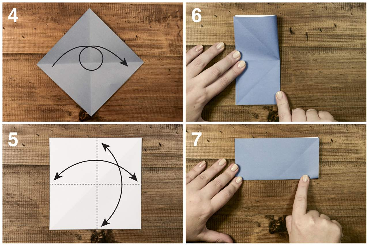 Open the paper, and refold so it's a rectangle for the origami sailboat.