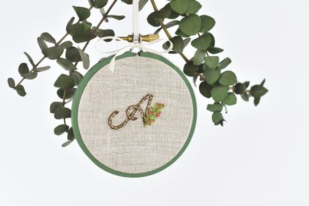 Stitched Holiday Ornament In A Mini Embroidery Hoop