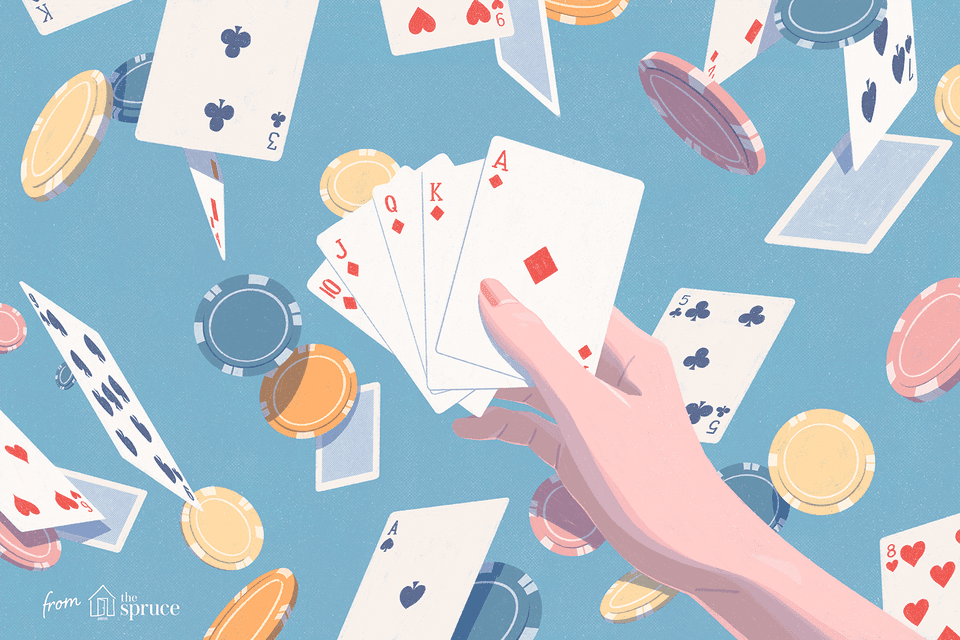 Illustration of hand holding cards