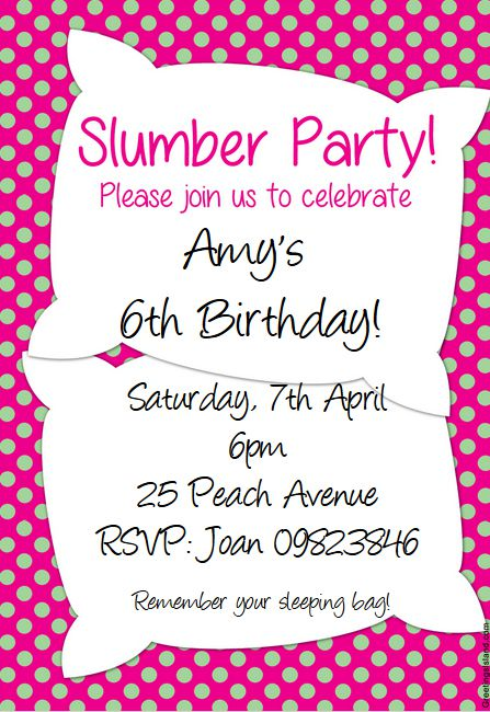 slumber party invitations templates free
