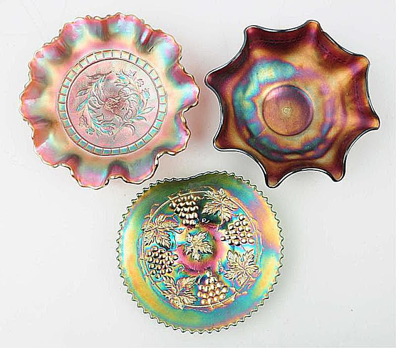 Three Northwood Carnival Glass Bowls