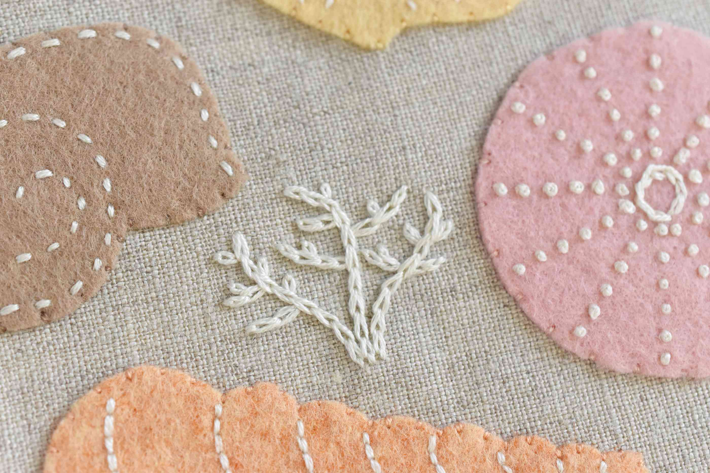 Coral Embroidered With Chain Stitch Between the Felt Shells