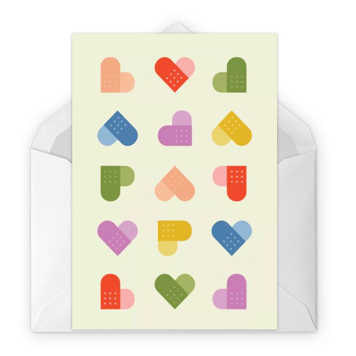 A get well card featuring different colors of bandaids