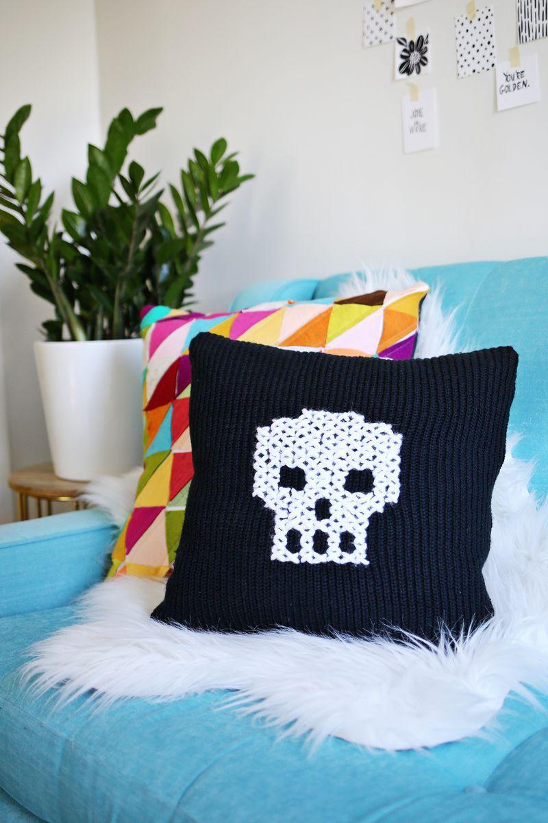 DIY Cross Stitch Skull Sweater Pillow