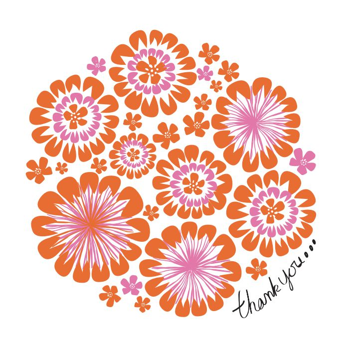 A thank you card with orange and purple flowers