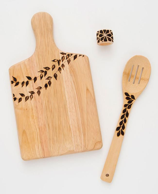 wood burning cutting board and serving spoon and napkin ring