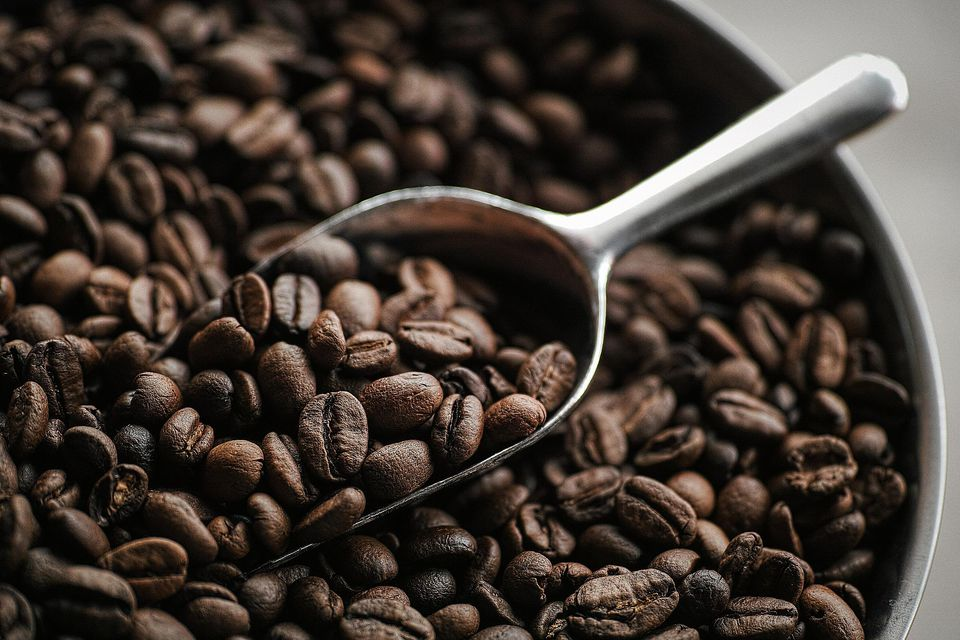 Roasted coffee beans with scooper
