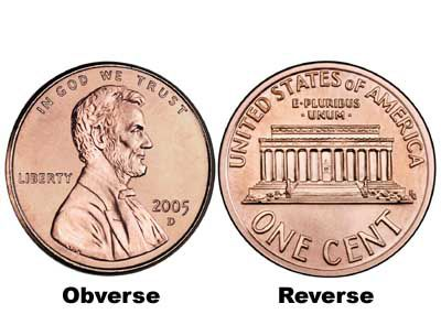 obverse and reverse of a coin