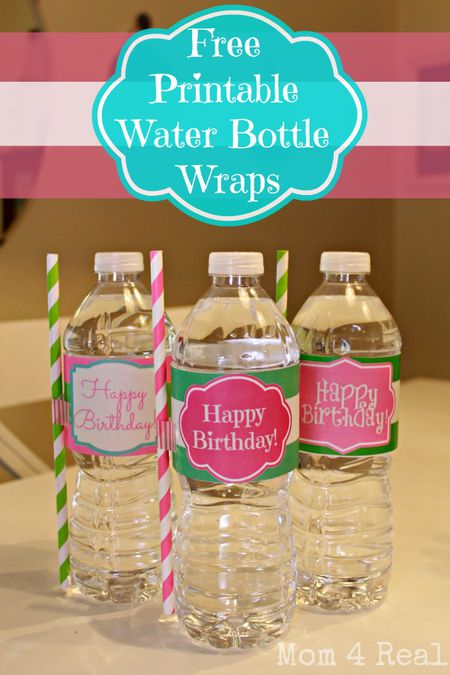 9 sets of free printable water bottle labels
