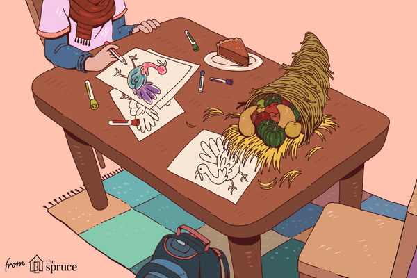 An illustration of a little girl coloring a turkey coloring page