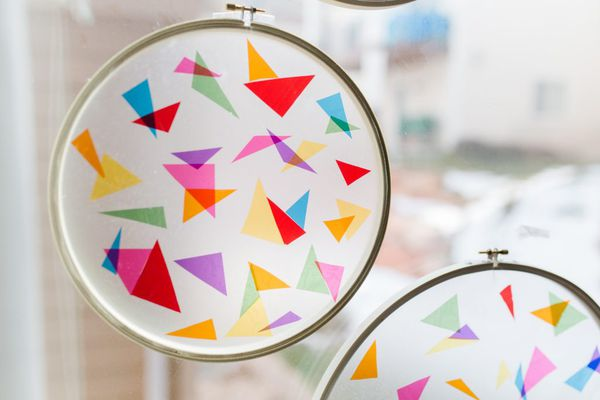 a stained glass suncatcher made with paper and cellophane