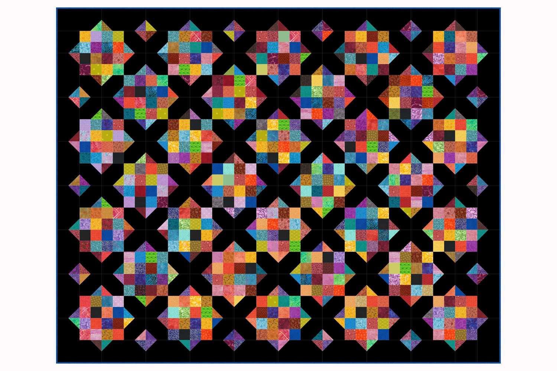 Field of Diamonds Quilt with Dark Background