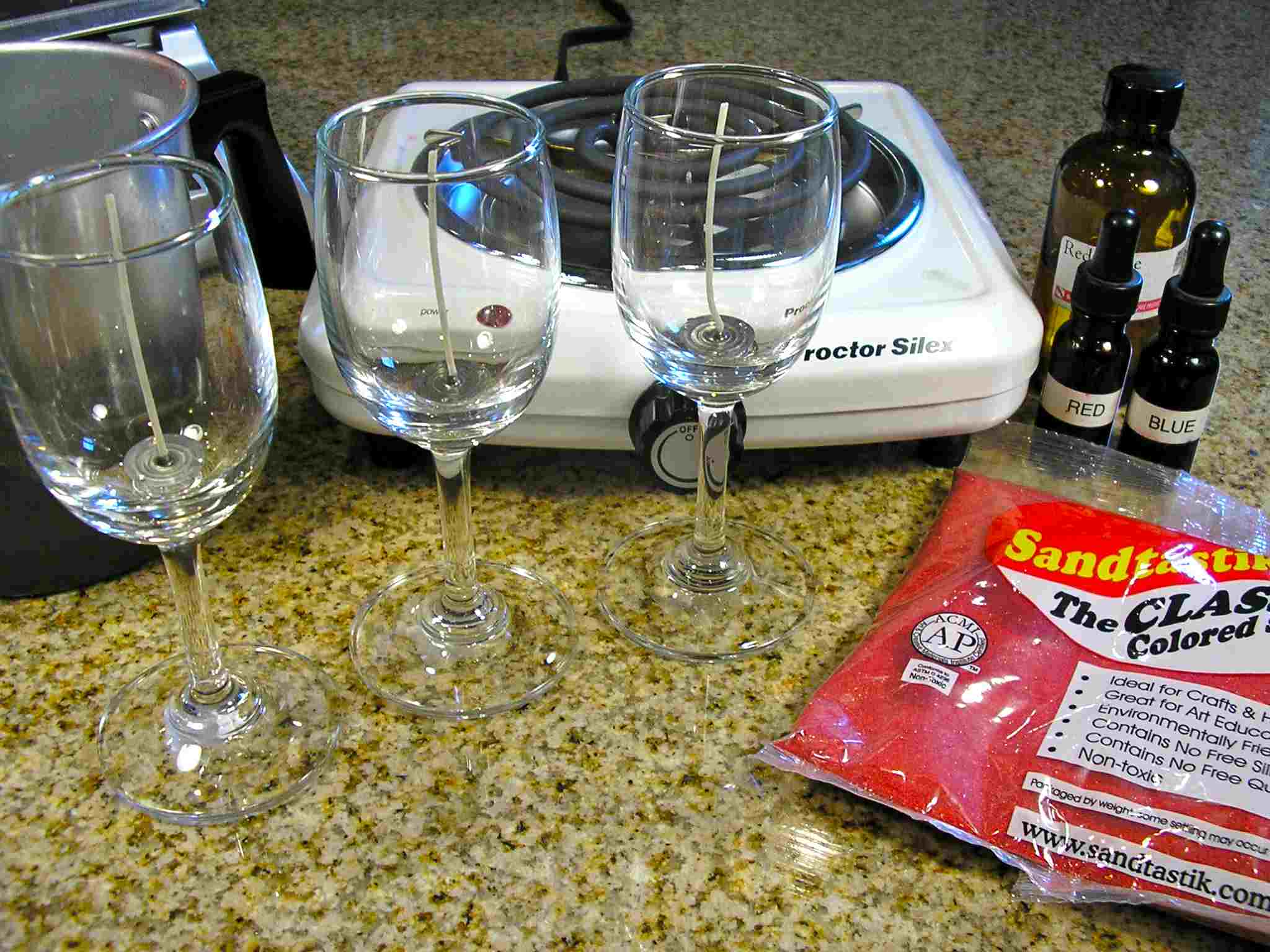 Materials and Tools to make wine glass gel candles
