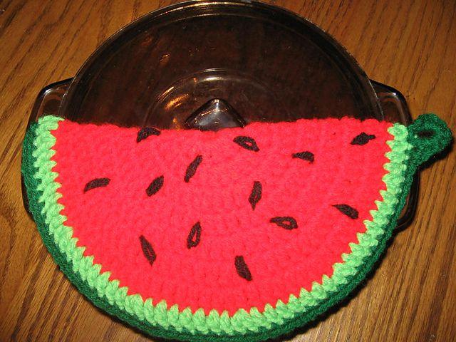 Watermelon Slice Crochet Potholder