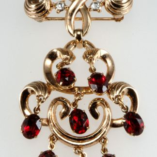 Ca. Early 1950s Trifari Cranberry Red Dangle Brooch