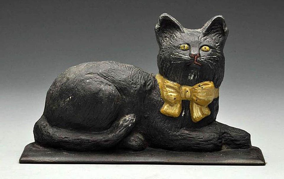 Cat with Bow Cast Iron Doorstop
