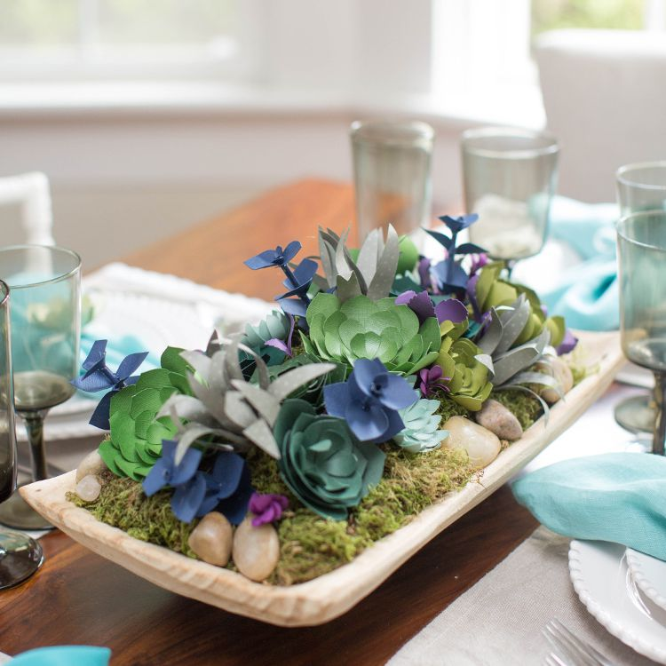succulent paper flower centerpiece