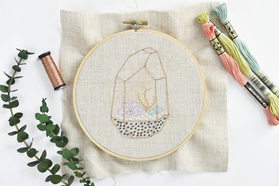 Modern Succulent Terrarium Embroidery