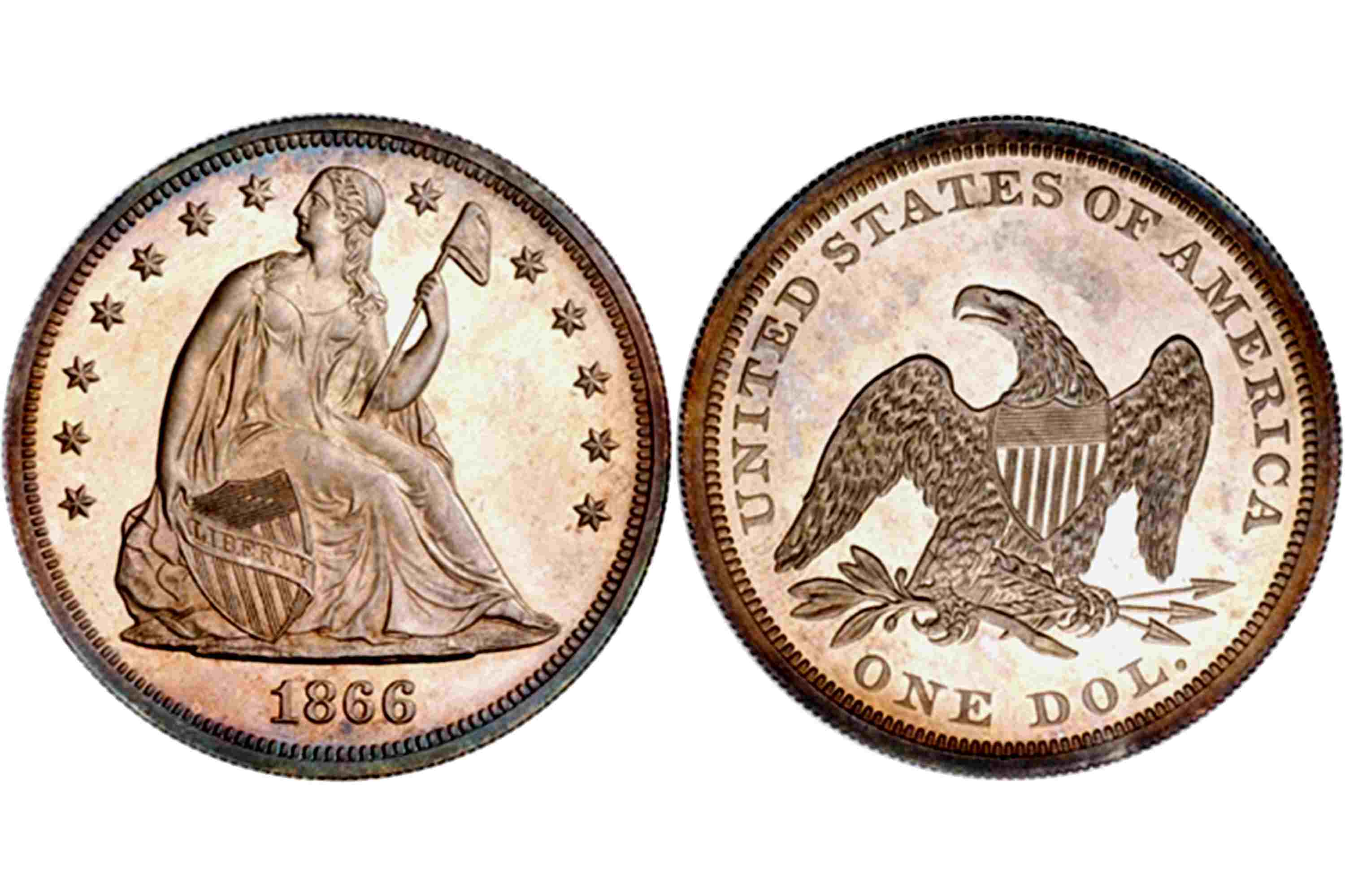 1866 Proof Liberty Seated Dollar, No Motto
