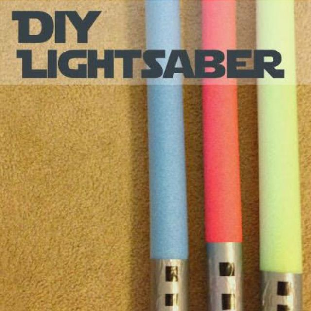 Pool noodle lightsaber in blue, red, and yellow.