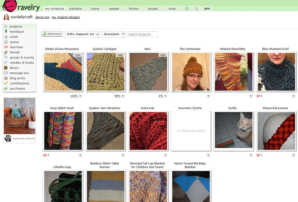 Ravelry website dashboard