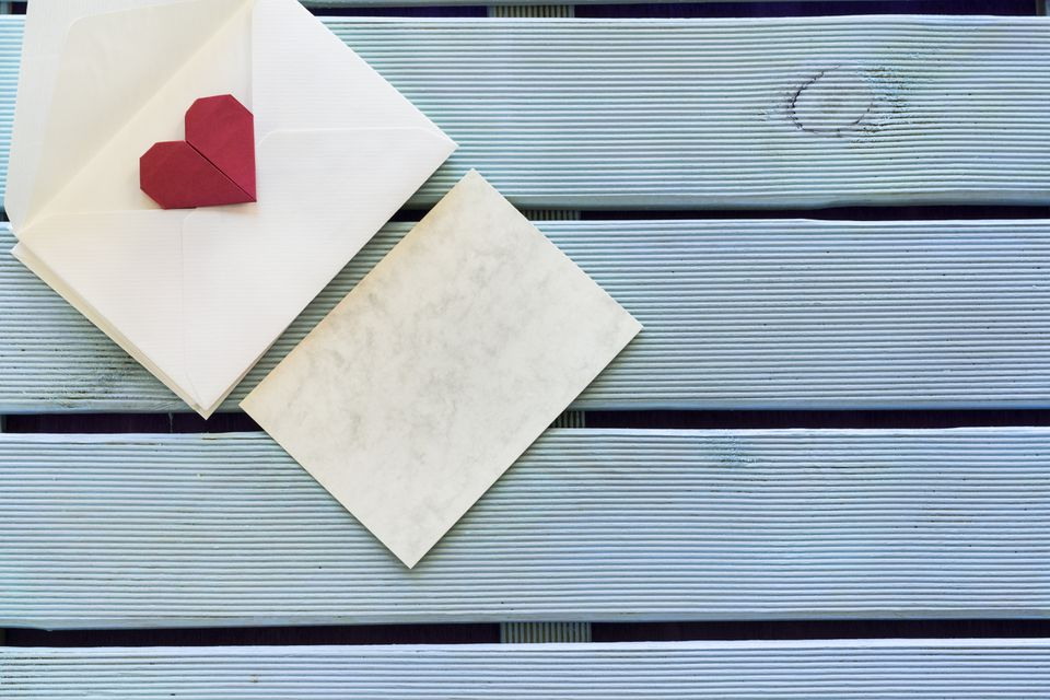 Greeting card and envelope with origami heart