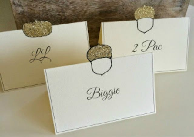 glittered place cards