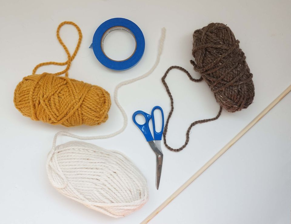 Supplies for DIY wall hanging.