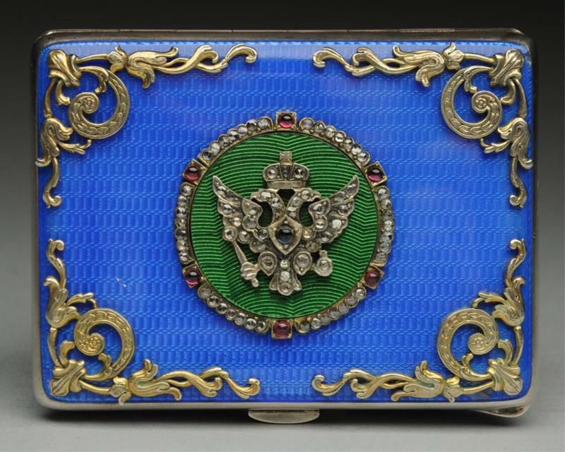 Russian card case with Guilloché enamel