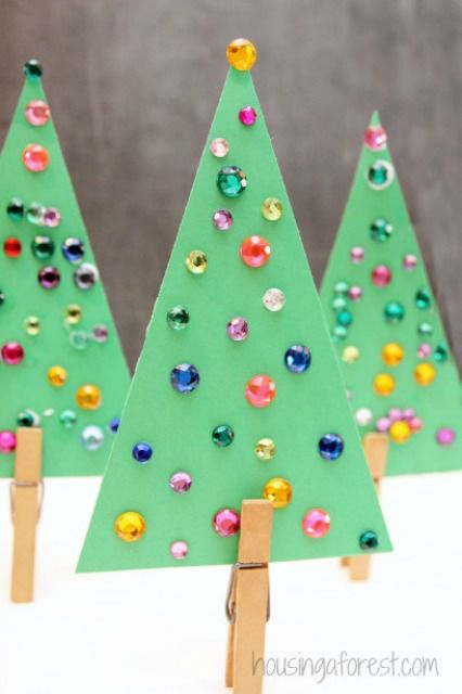 jeweled christmas tree craft for kids - Childrens Christmas Tree Decorations