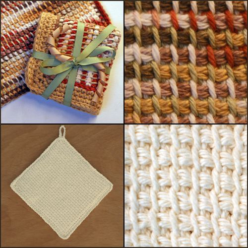 Four examples of afghan stitches.