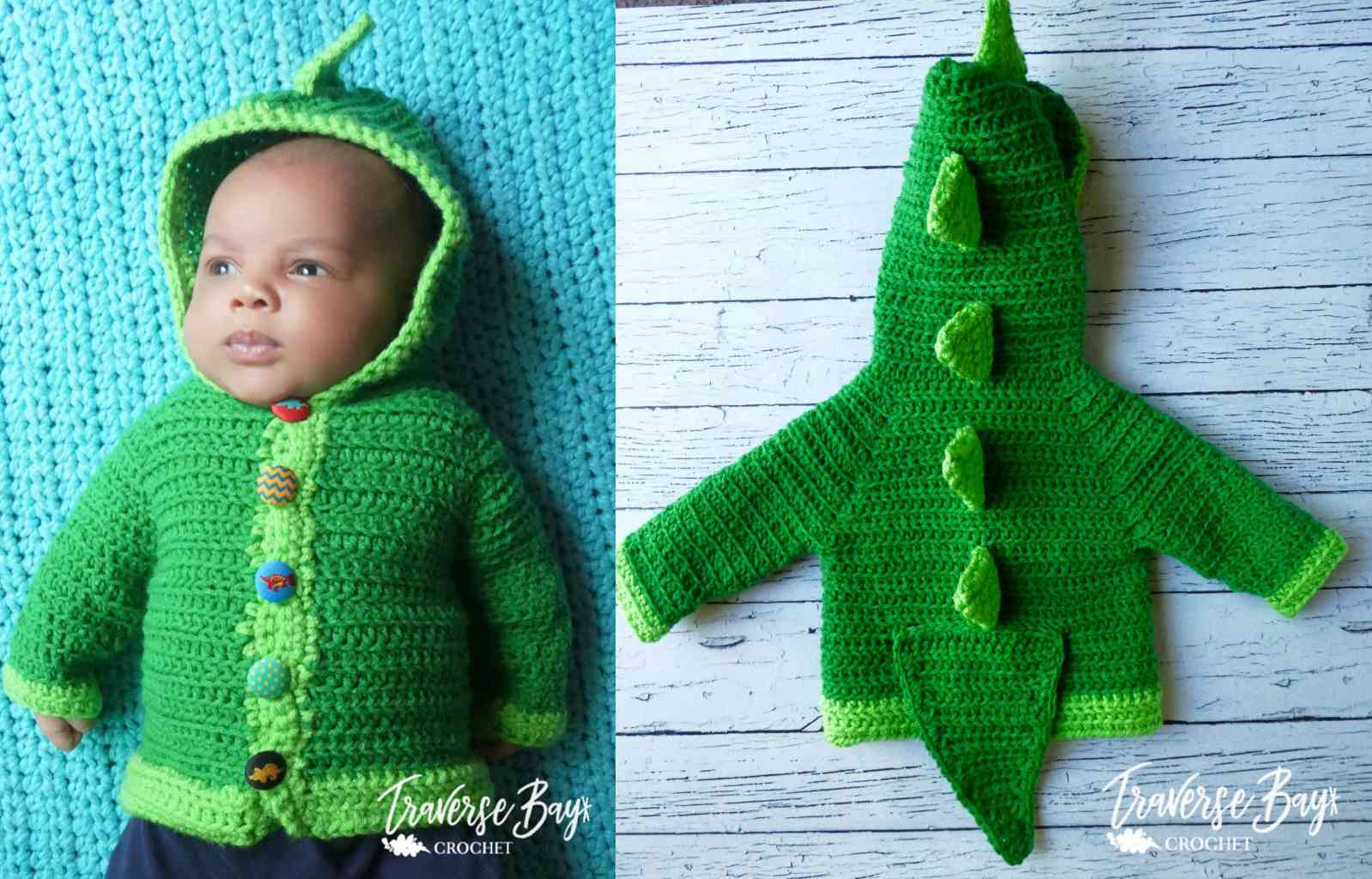 Dinosaur Baby Cardigan Crochet Pattern