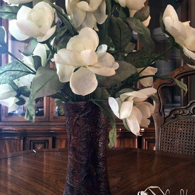 faux paper leather vase