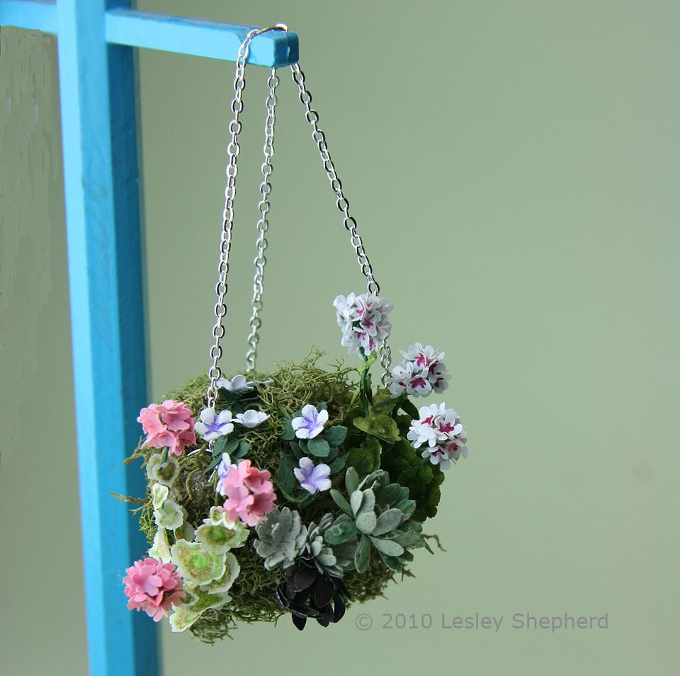 Moss Hanging Baskets For Dolls House